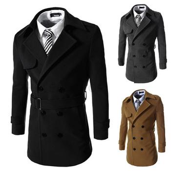 Κομψό και μακρύ ανδρικό  παλτό με ζώνη σε τρία χρώματα