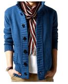 Топла мъжка жилетка с копчета и джобове в бежов, син и черен цвят
