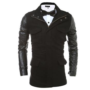 Πολύ κομψό και μακρύ ανδρικό παλτό με δερμάτινα μανίκια και τσέπες σε τρία χρώματα
