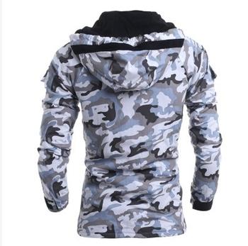 Μεσαίο παχύ ανδρικό μπουφάν καμουφλάζ με κουκούλα σε δύο χρώματα