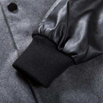 Ανδρικό Μπουφάν Μπέιζμπολ με δερμάτινα μανίκια και κουμπιά σε γκρι και μαύρο χρώμα