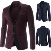 Стилно мъжко сако с две копчета в тъмносин и бордо цвят