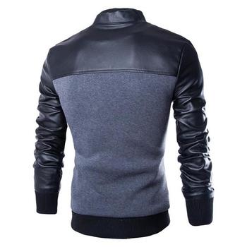 Ανδρικό αθλητικό κομψό μπουφάν με δερμάτινα μανίκια και κουμπιά σε μαύρο  και γκρι χρώμα 24bf12864f1