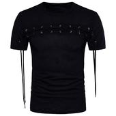 Стилна мъжка тениска с кръстосани връзки в черен цвят