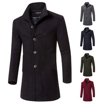 Πολύ κομψό μακρύ ανδρικό παλτό  με κολάρο σε πέντε χρώματα