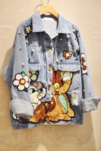 Стилно дънково яке за дамите с апликация и мъниста