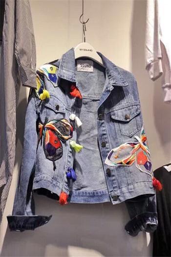 Denim γυναικείο  σακάκι με κεντήματα
