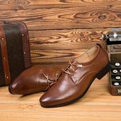 Официални мъжки кожени обувки с много елегантен дебел ток