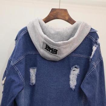Спортно дънково яке за дамите с качулка и леко накъсано в два цвята