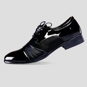 Лачени мъжки официални обувки с дебел ток - 2 модела