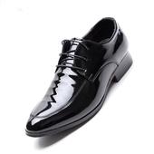 Мъжки класически лачени обувки с връзки и дебел ток