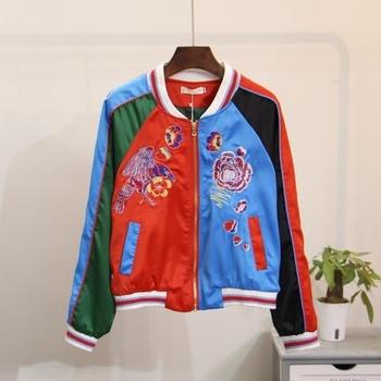 Цветно бомбър яке за дамите с флорални мотиви