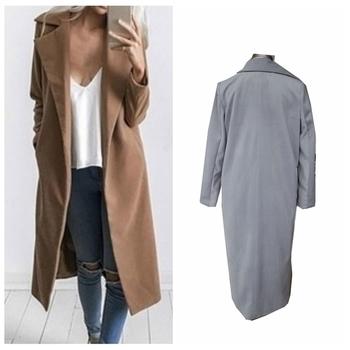 Много стилно дълго палто за дамите в бежов и сив цвят