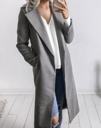 Πολύ κομψό μακρύ γυναικείο παλτό σε μπεζ και γκρι χρώμα - Badu.gr Ο ... 4c69ca1862e