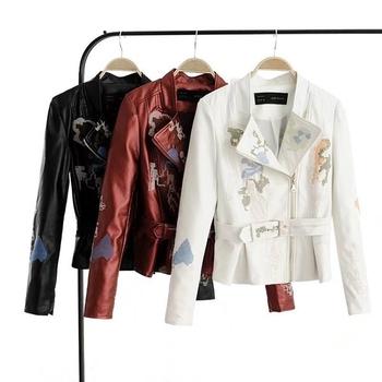 Актуално дамско яке от изкуствена кожа с изключителна бродерия - 3 модела