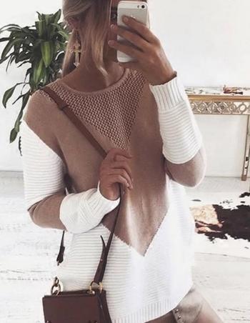 Стилен и дълъг дамски пуловер в розов и червен цвят
