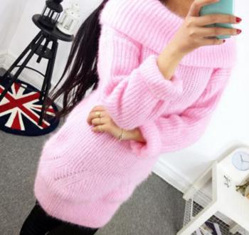 Топъл дамски дълъг пуловер в различни цветове