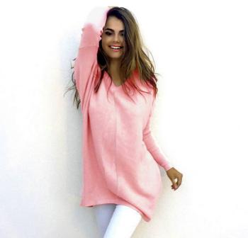 Много стилно семпло дамско пуловерче с V-образна яка