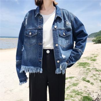 Дънково дамско яке с ресни в широк модел в син цвят