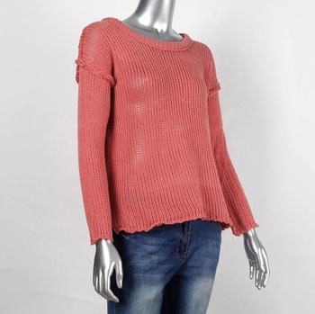 Актуален дамски топъл пуловер с дълъг ръкав