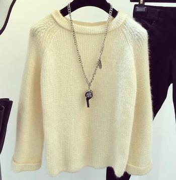 Дамски ежедневен много топъл пуловер с О-образна яка - 4 цвята