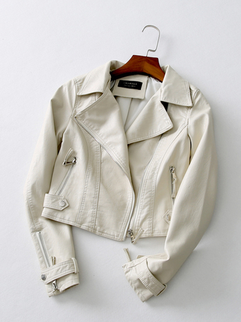 Стилно кожено яке за дамите в три цвята