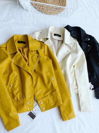 Δερμάτινο μπουφάν σε κίτρινο, μαύρο και άσπρο