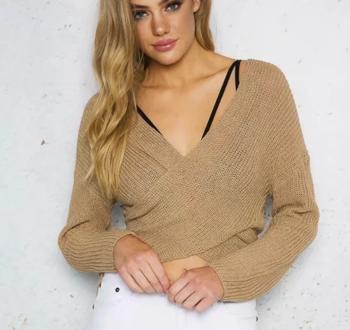 Ежедневна дамска блуза с дълъг ръкав и V-образно деколте - 4 цвята