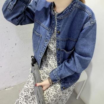 Дънково яке за дамите с свободен стил и семпъл модел