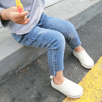 Сладки детски дънки за момичета - накъсани с висока талия