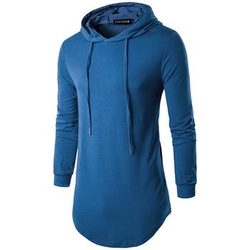 0e0c6bb2f3d0 Μοντέρνο μακρύ ανδρικό φούτερ με κουκούλα και μακριά μανίκια - 5 χρώματα