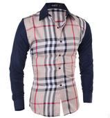 Модерна мъжка риза с интересни шарени райета и дълъг ръкав