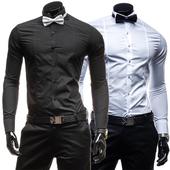 Много стилна официална мъжка риза в черен и бял цвят с дълъг ръкав
