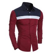 Спортно-елегантна мъжка риза с дълъг ръкав и поло якичка в преливащи цветове - 2 модела