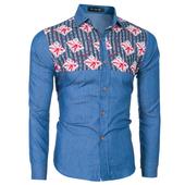 Slim fit мъжка ежедневна риза с интересни шарени геометрични фигурки - 2 цвята
