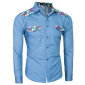 Мъжка ежедневна,много стилна ризка с шарени мотиви по джобчетата - 2 цвята