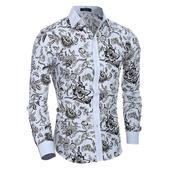 Риза с дълъг ръкав и стандартна яка в флорални мотиви