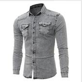 Дънкова много стилна мъжка риза с дълъг ръкав - 2 модела