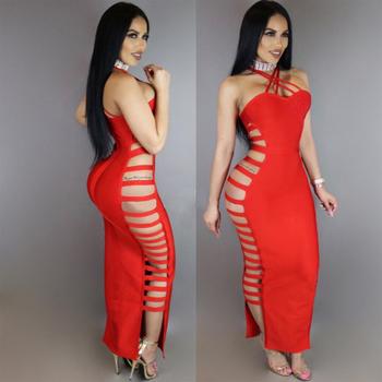 4907230e9703 Κομψο μακρύ φόρεμα γυναικείο με κομμένα στοιχεία σε μαύρο και κόκκινο χρώμα