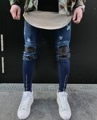 Мъжки накъсани дънки с ципове тип Слим