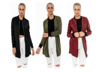 Μακρύ σπορ-κομψό γυναικείο μπουφάν σε τρία χρώματα