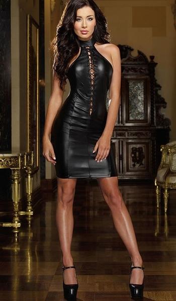 ff09329a5f37 Δερμάτινο γυναικείο φόρεμα σε μαύρο χρώμα με κορδόνια - Badu.gr Ο ...