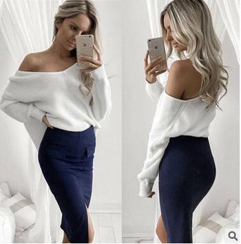 Нежен дамски пуловер в няколко цвята и в свободен стил