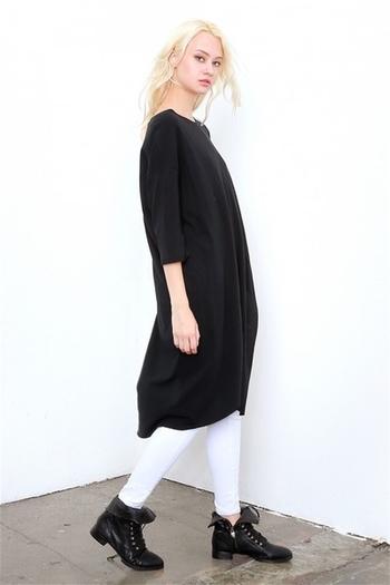 Стилен дълъг пуловер за дамите с О-образна яка и цепка