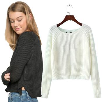 Изчистен дамски пуловер с О-образно деколте, в три цвята