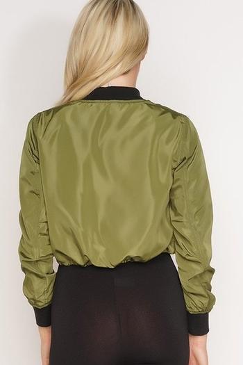 Модерно късо яке бомбър за дамите в зелен и розов цвят