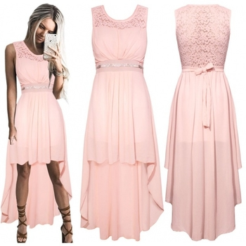 2cc395559b2d Πολύ μοντέρνο και μοντέρνο φόρεμα κυρίες με δαντέλα στην κορυφή σε μαύρο  και μωρό ροζ χρώμα