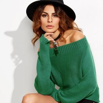 Ежедневен дамски пуловер с паднало рамо и дълъг широк ръкав