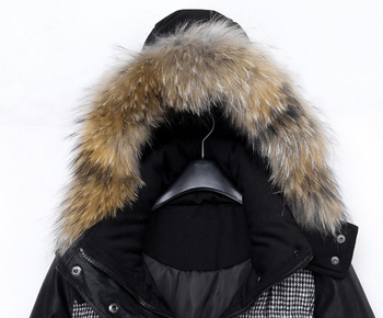 Зимно дамско яке в интересен дизайн с качулка и пух