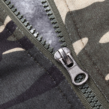 Ανδρικό καμουφλάζ μπουφάν με κουκούλα και βελούδινη επένδυση